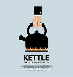 Hand putting a kettle on a fire stove vector