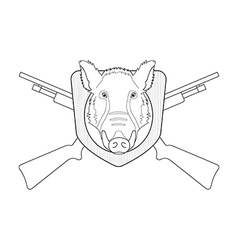 Hunting trophy stuffed wild boar head line-art vector