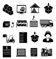 Warehouse logistics icons set vector image