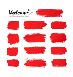 Red paint brush strokes vector