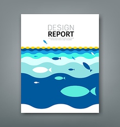 Cover annual report concept fish on blue sea vector