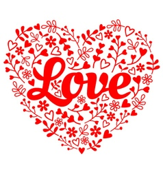 Love red flower heart vector