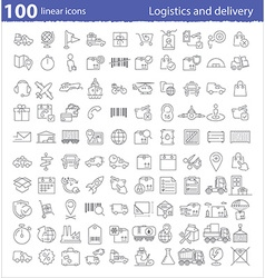 One hundred linear icons for transportation vector
