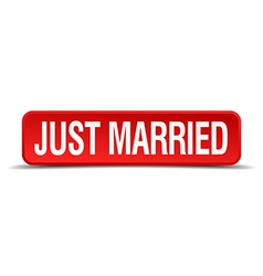 Just married red 3d square button isolated on vector