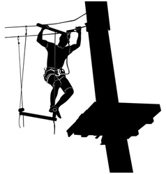 Man on cables in an adventure park vector