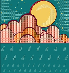 Raining retro nature sky background vector