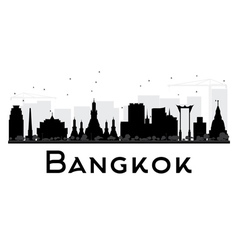 Bangkok City skyline black and white silhouette vector image