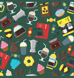 cartoon coffee shop background pattern vector image vector image