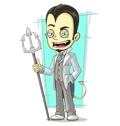 Cartoon white devil with sharp trident vector image