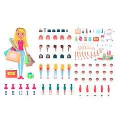 Cheerful woman on shopping spree vector