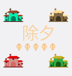 chinese house and snow vector image