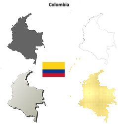 Colombia outline map set vector