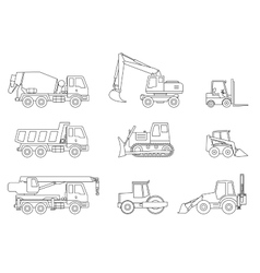 Construction machines thin icons vector