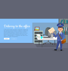 Delivery to the office cartoon web banner vector