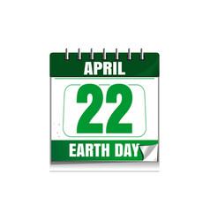 Earth day wall calendar 22 april vector