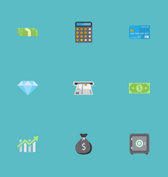 Flat icons teller machine cash stack money and vector