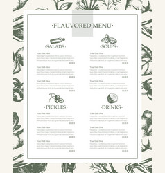 Flavoured products - hand drawn template menu vector