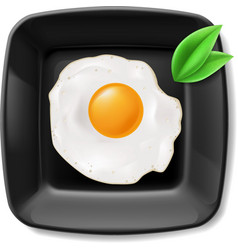Fried eggs served on black plate vector