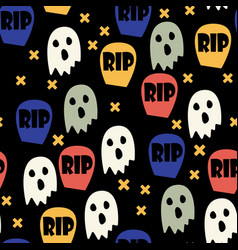 Ghost and gravestone halloween pattern vector