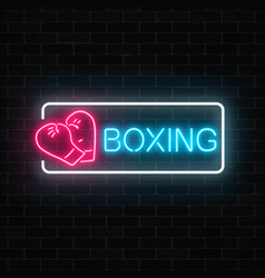 Glowing neon boxing club sign in rectangle frame vector