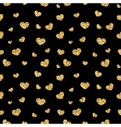 Golden hearts seamless pattern 3 black vector image vector image