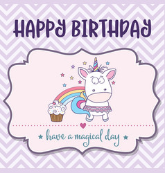 Happy birthday card with lovely baby girl unicorn vector