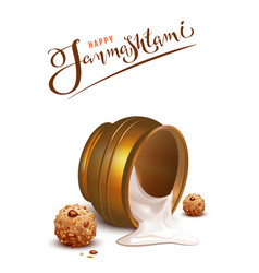 Happy janmashtami lettering text and overturned vector