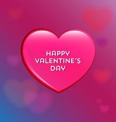 Happy valentines day glossy heart icon vector