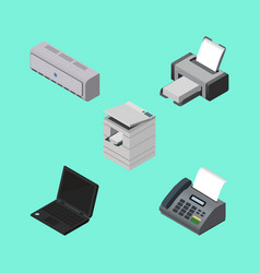 Isometric cabinet set of laptop printing machine vector
