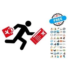 Late passenger icon with 2017 year bonus symbols vector