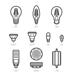 led light lamp bulbs outline icon set vector image vector image