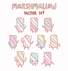 Marshmallow cartoon set vector