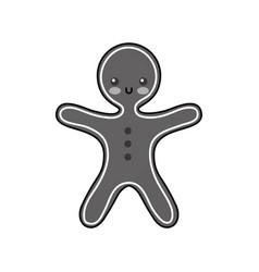 merry christmas gingerbread cookie sweet food vector image