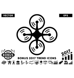 Quadcopter screw rotation flat icon with 2017 vector