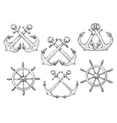 Sailing ships helms and crossed anchors sketches vector image vector image