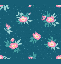 seamless pattern with wild roses on the dark blue vector image