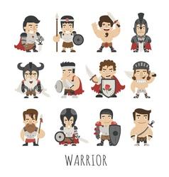 Set of warrior costume characters vector