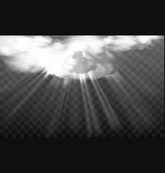 sun rays through white fluffy clouds vector image