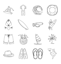 Surfing set icons in outline style big collection vector
