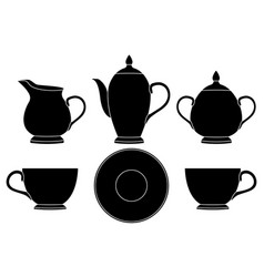 tea set black silhouette icons vector image