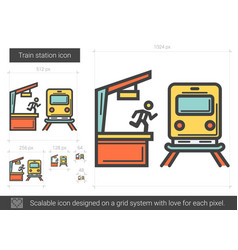 train station line icon vector image vector image