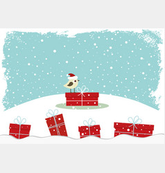 winter card with little bird vector image vector image