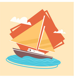 Yacht icon summer sea vacation concept summertime vector