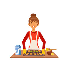 young woman baking cookies housewife girl cooking vector image