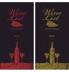 wine list menu with bottle vector image