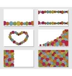 Set of greeting cards with yarn skeins yarn balls vector