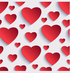 Valentine seamless background with 3d hearts vector