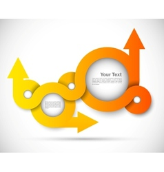 Background with orange circles and arrows vector image