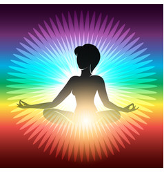 yoga meditation emblem vector image