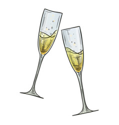 Colorful sketch of two glasses of champagne vector